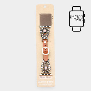 Stone Detail Apple Watch Leather Strap Band
